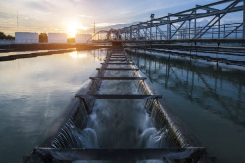 water treatment with sun in background