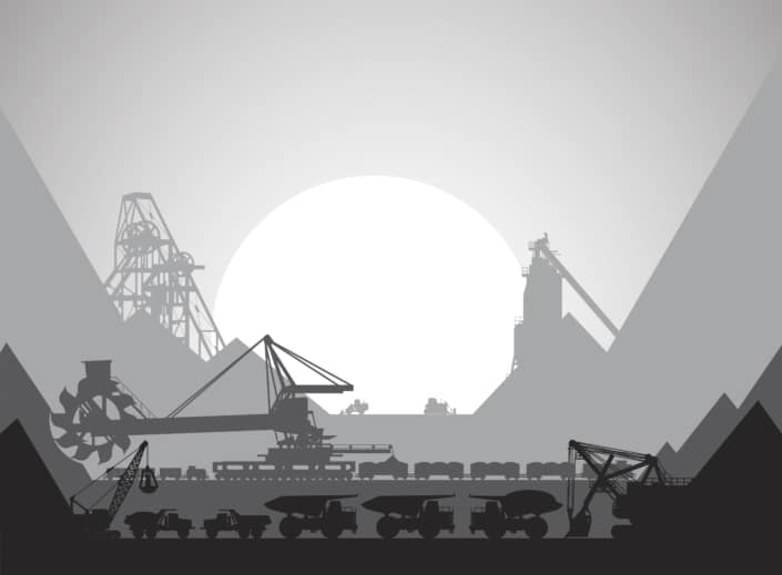 black & white mining image